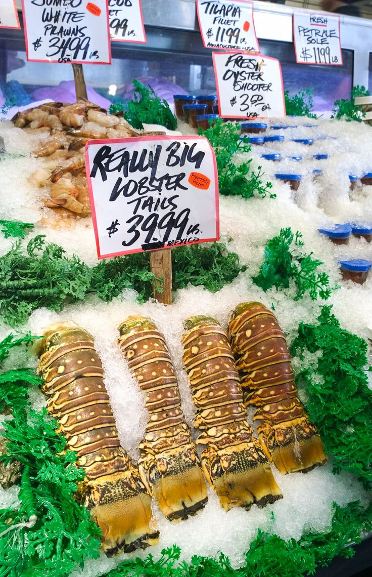 Really big lobster tails at Pike Place Market  #seattle #pikeplace #market #lobster #food #travel #tail #seafood #fresh