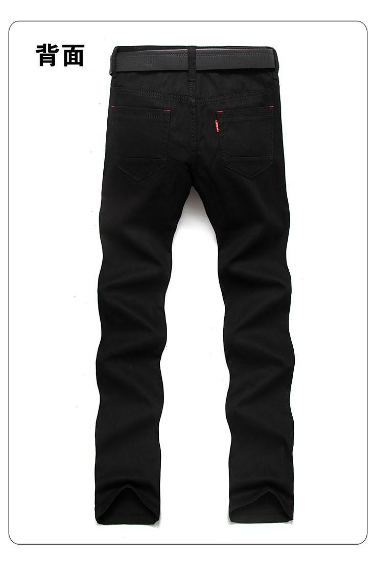 джинсы летние шлифе джинсы мужские брюки Корейский тонкой талии свободные прямые черные джинсы стрейч - Taobao