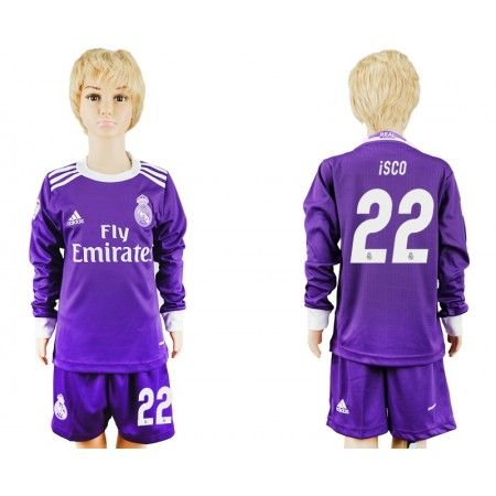 Real Madrid Fotbollskläder Barn 16-17 #Isco 22 Bortatröja Långärmad,275,98KR,shirtshopservice@gmail.com