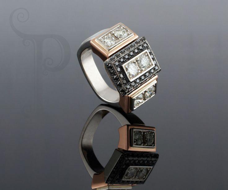Handmade 18ct White & Rose Gold Ring, With Black Rhodium Plating , set With Round Brilliant Cut black & White Diamonds