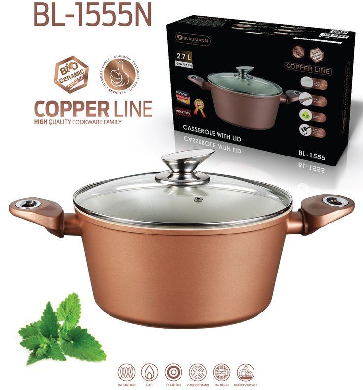 "Blaumann 24cm Ceramic Coating Casserole "" Copper Line "" Soft Touch Han – Restful Spaces"