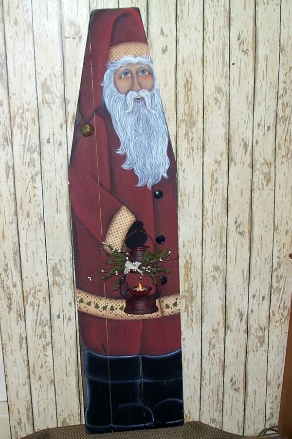 Vintage Ironing Board with Hand painted Primitive Folk Art Santa