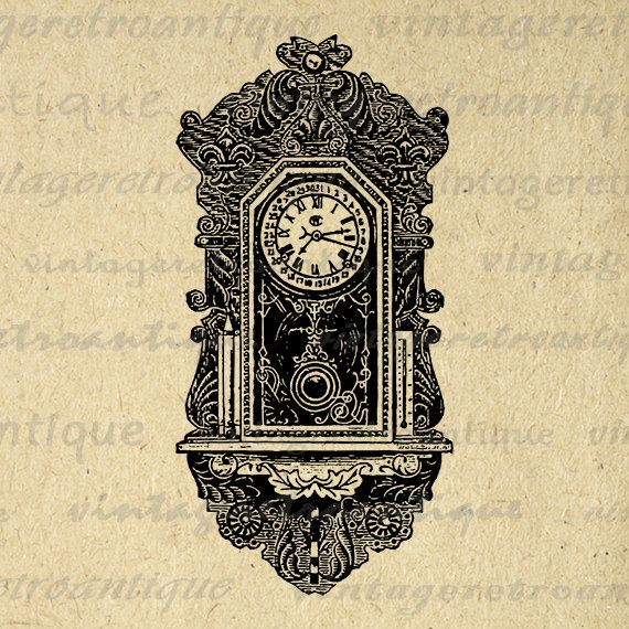 antique wall clock printable image digital by