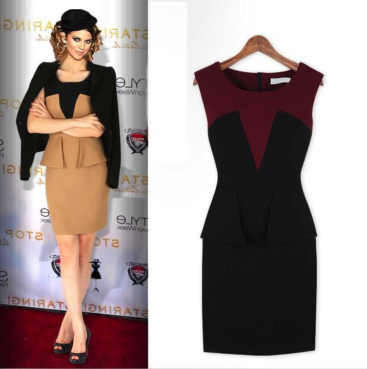 Peplum Bodycon Dress - $33.95 with FREE shipping (avail. beige or red)