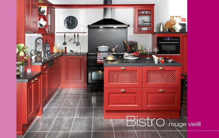 cuisine bistro cuisines mont es lapeyre maison cuisines quip es rouge kitchen. Black Bedroom Furniture Sets. Home Design Ideas
