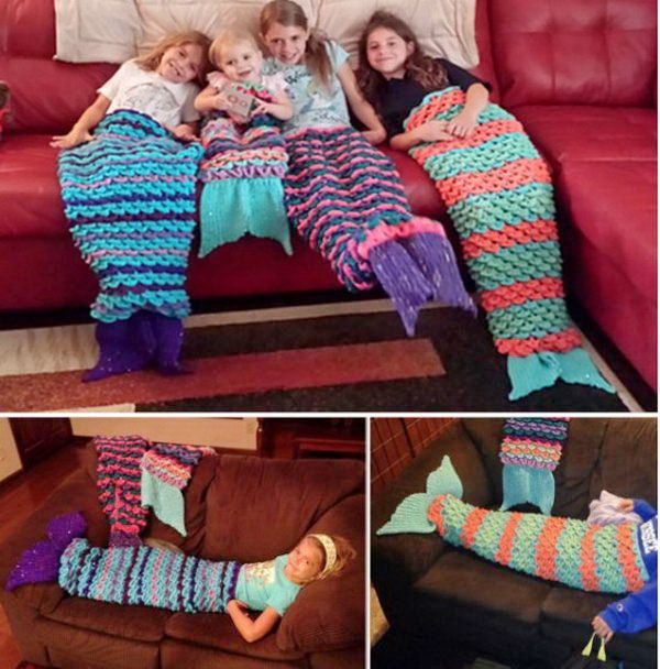 Crochet Mermaid Blanket. This fabulous crochet mermaid blanket is perfect for snuggling up in! It's fun for little and big kids to make and would make a great gift. Tutorial via