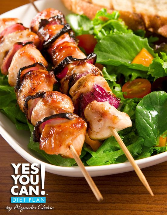 Chicken Kabobs with a side of Greek Yogurt and Cucumber Sauce - A healthy option for your Yes You Can! Diet Plan dinner