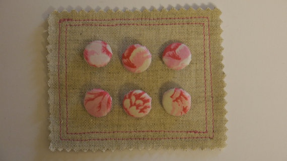 Set of 6 Covered Buttons in Vintage Fabric by HomebirdTextiles, £10.00