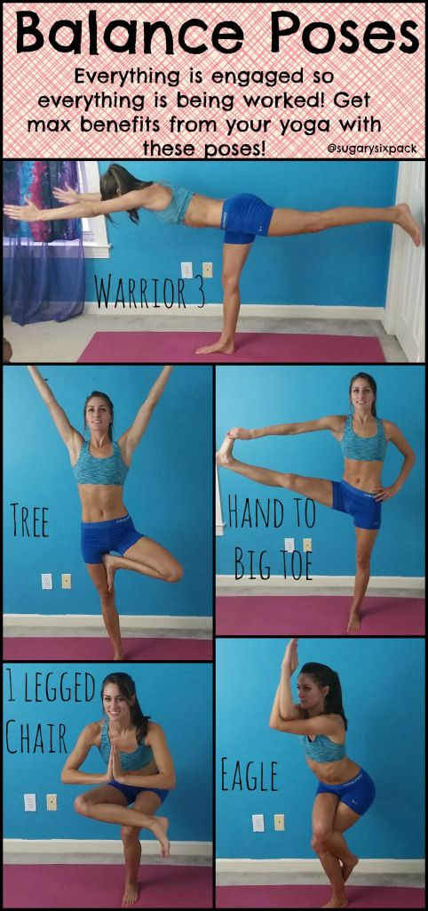 Yoga Balance Poses are great for toning your whole body because your whole body is engaged and working to keep you upright! | www.sugarysixp...