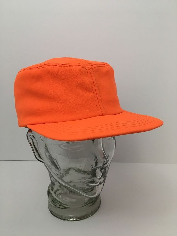 Vintage Blaze Orange Lined Hat w Ear Flaps Hunting Hunter Outdoor USA Large #Unbranded