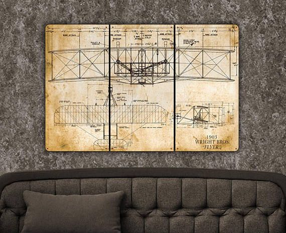 Wright Flyer Metal Triptych 24x36 FREE SHIPPING