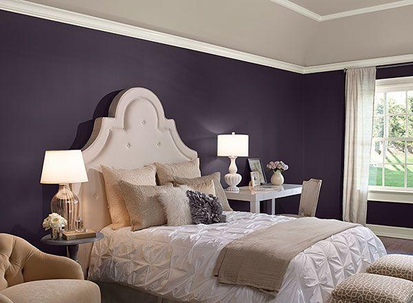 "Bedroom in Benjamin Moore ""Shadow"" paint (a dark purpley/black/gray)"
