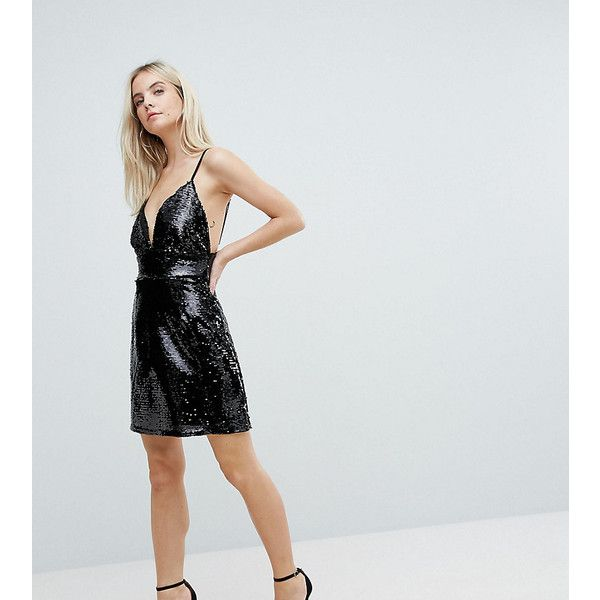Fashion Union Petite Mini Dress In Sequin ($58) ❤ liked on Polyvore featuring dresses, black, petite, sequin bodycon dresses, bodycon mini dress, sequin cocktail dresses, party dresses and petite cocktail dress