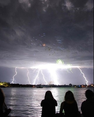 Mandurah, Western Australia -- residents were treated to a spectacular light show - with a thunderstorm coinciding with a fireworks display on 11 December 2012. Listeners of Coast FM took these photos of the storm.