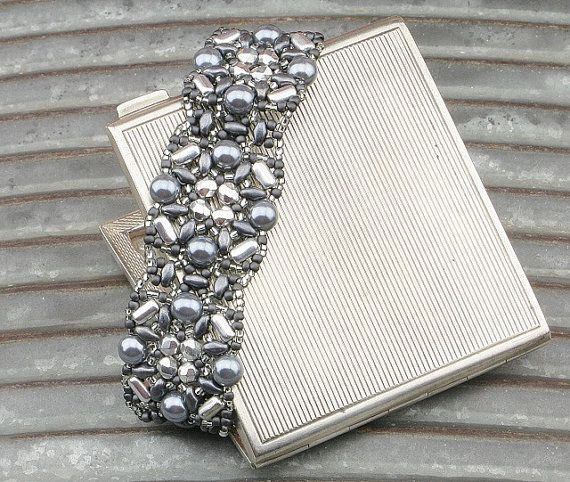 Gray and Silver Beaded Bracelet by CatchTheBeads on Etsy
