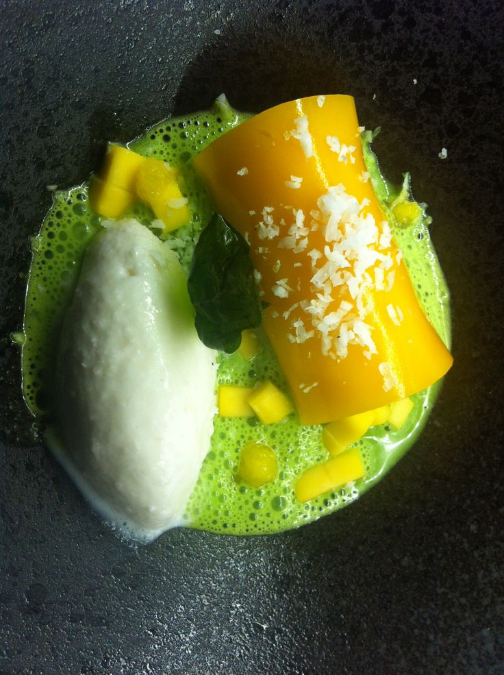 Sticky rice rolled in Mango jelly, chunky fresh mango, coconut sorbet and pandan broth.