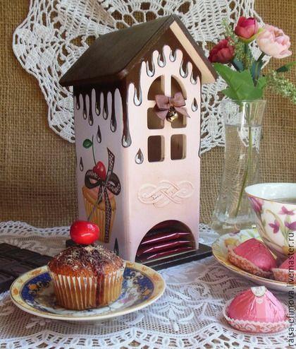 """Кухня ручной работы. Ярмарка Мастеров - ручная работа. Купить Чайный домик """"Chocolate"""". Handmade. Разноцветный, капкейк, домик для чая"""