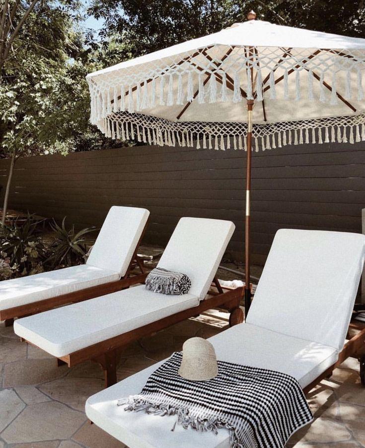 Sivan Ayla White Lounge Chairs Outdoor Furniture Patio Umbrella