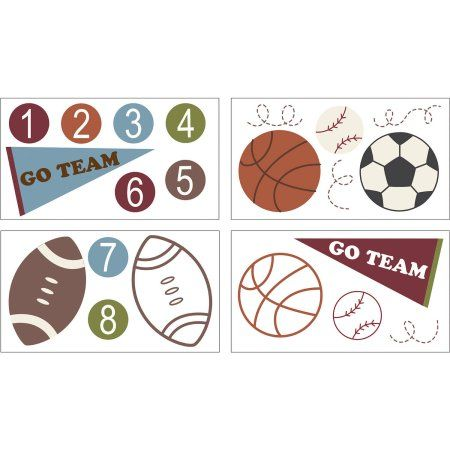 Sports Star Wall Decals, Blue