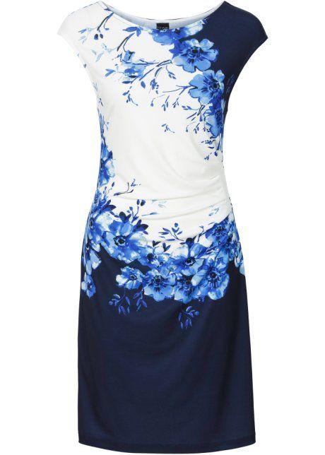 Платье с драпировкой, BODYFLIRT, черный/темно-синий с принтом