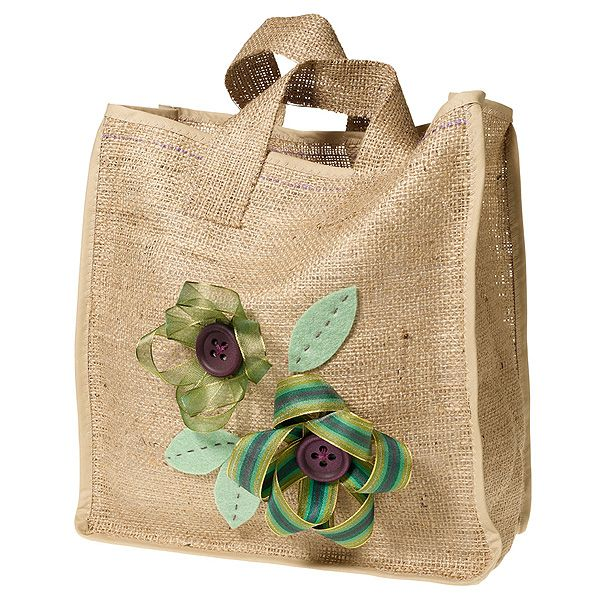Cute Hessian Bag with ribbons and buttons... tutorial :)