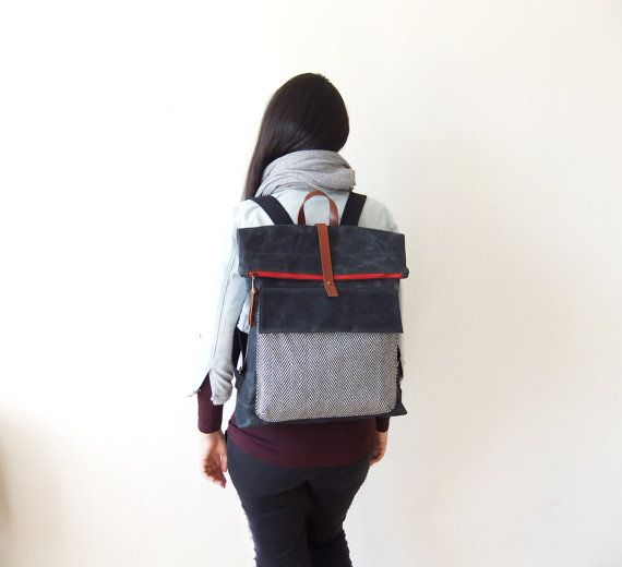 Waxed Canvas Backpack in Black  Adjustable Cotton by metaphore, $129.00