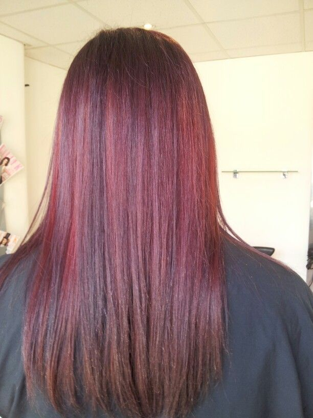 Burgendy and red ombre previously light blonde