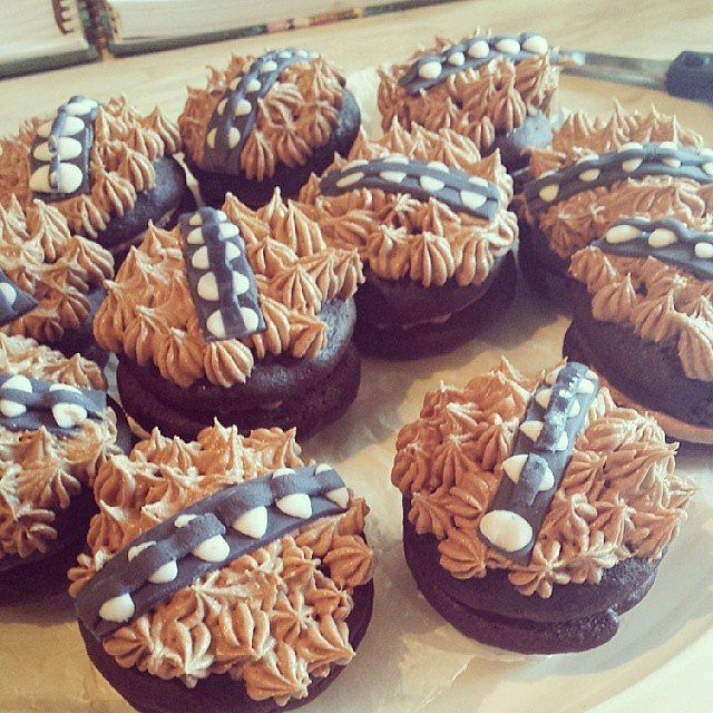 "These are whoopie pies decorated to look like chewbacca! I think this or cupcakes is an easy ""cake"" option for everyone."