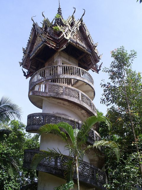Suspended temple in Sangkhlaburi Province, Thailand | sunny meadow