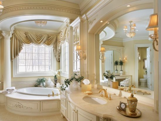 Photo On Pretty Guest Bathroom with white millwork large white framed mirror light blue wallpaper and elegant chandelier