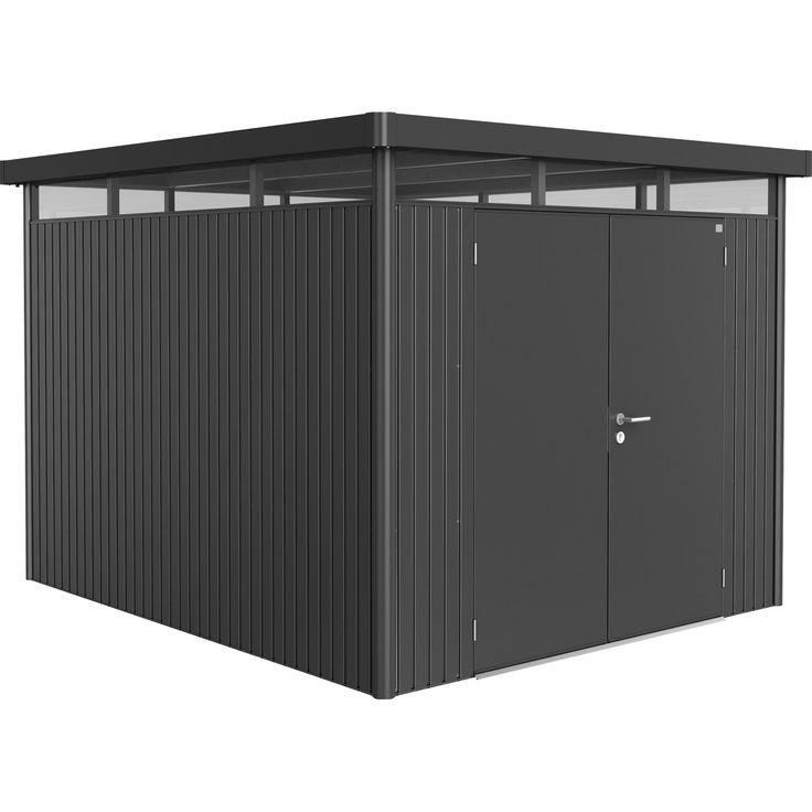 Mit Flachdach • 3-fach Verriegelung ✓ Biohort Gerätehaus HighLine Größe H5 Dunkelgrau-Metallic Doppeltür ➜ Metall-Gerätehäuser jetzt bei OBI kaufen!