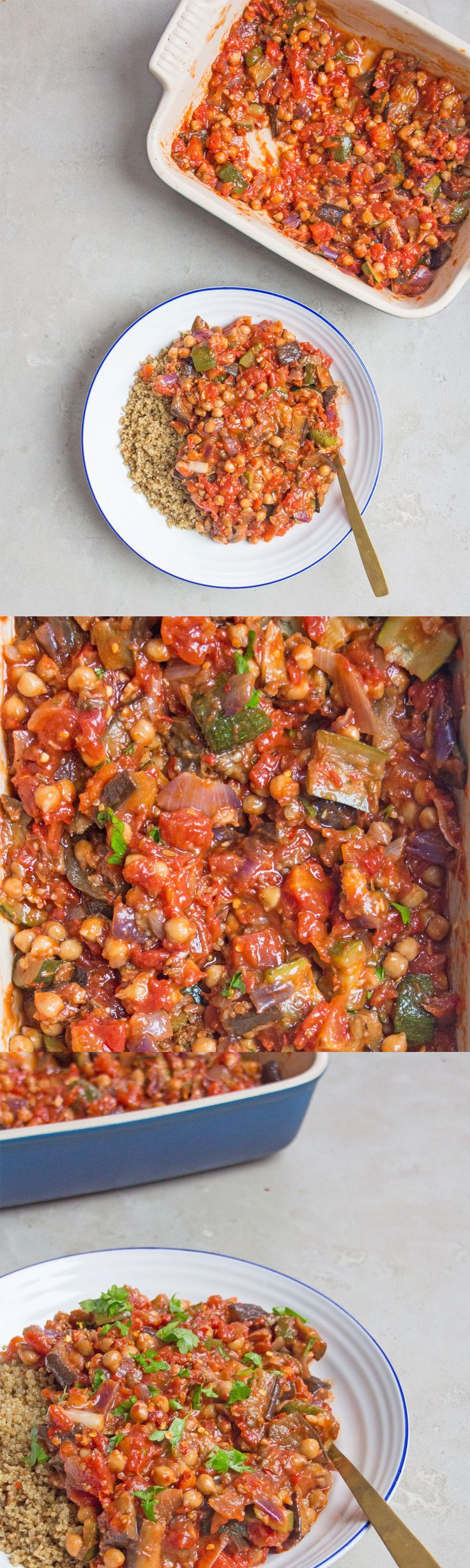 A simple roast veg and chickpea stew with courgette, aubergine, tomato, onion and garlic - such an easy way to get lots of veggies in to your meals! The leftovers for this are perfect for work the next day, and they freeze really well too.