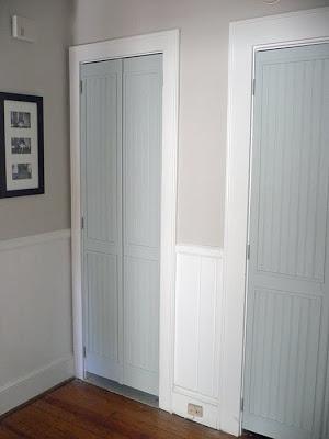 bifold door makeover - louvres to beadboard