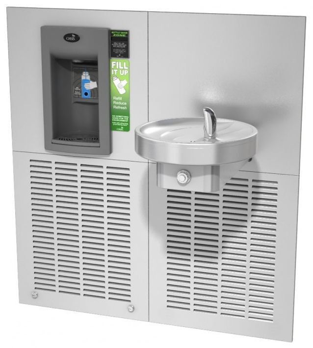 Питьевой комплекс с охлаждением воды M8EBFY: аппарат для наполнения бутылок и безбарьерный питьевой фонтанчик