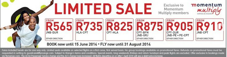 Limited Mango offer for Momentum Multiply members! http://www.southafrica.to/transport/Airlines/mango-flights/mango-momentum.php
