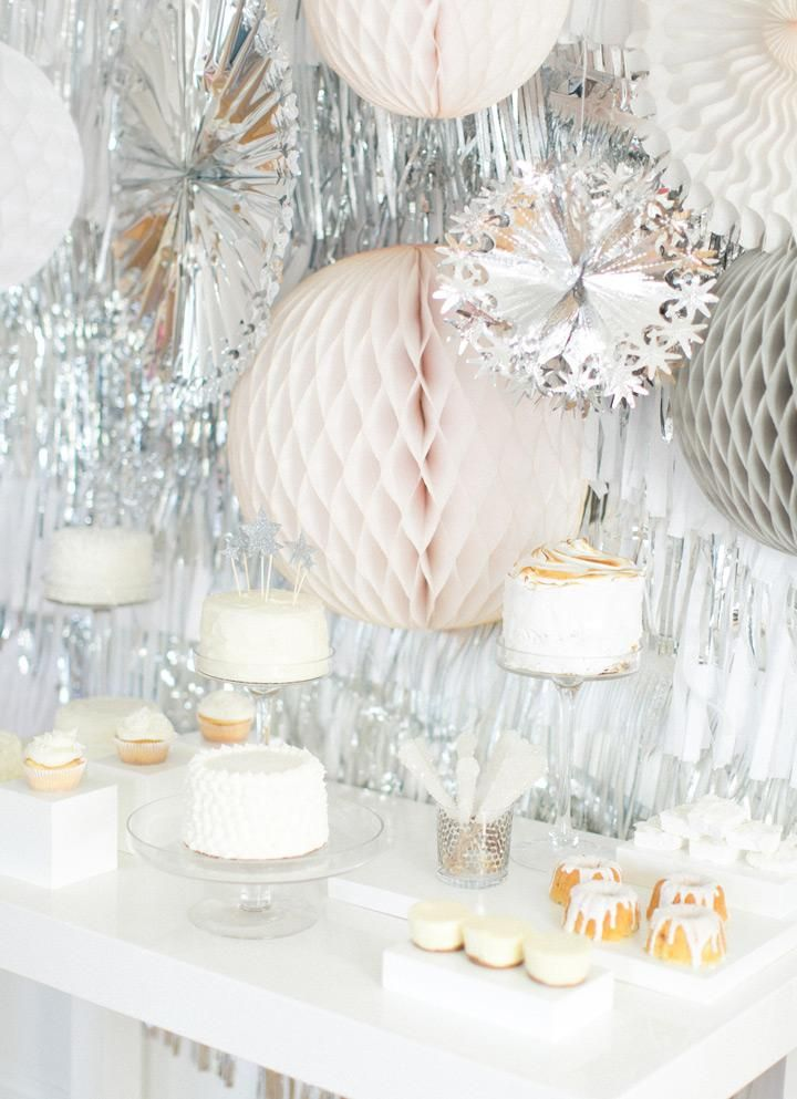 Silver and White New Years Party DIY / Abby Larson | west elm: Parties Diy, New Years Eve Inspiration, New Years Party, New Years Parties, Parties Ideas, Backdrops Ideas, Style Me Pretty, Desserts Tables, West Elm