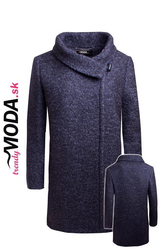 Kvalitný vlnený dámsky zimný kabát moderného voľného strihu.-trendymoda.sk