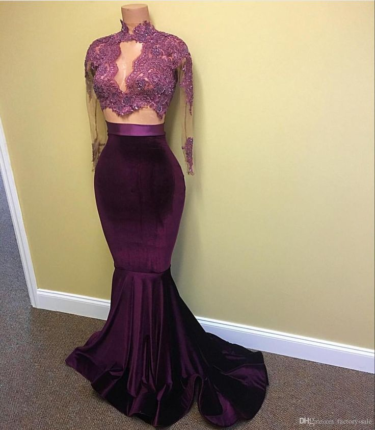 2017 Hot Velvet Two Pieces Prom Dresses Mermaid Lace Appliques Beaded Sheer Long Sleeves Sweep Train Evening Party Gowns Arabic Celebrity Debs Prom Dresses Designer Prom Dresses From Factory Sale, $136.5| Dhgate.Com