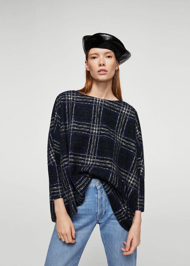 Teksturowany sweter w kratkę | MANGO