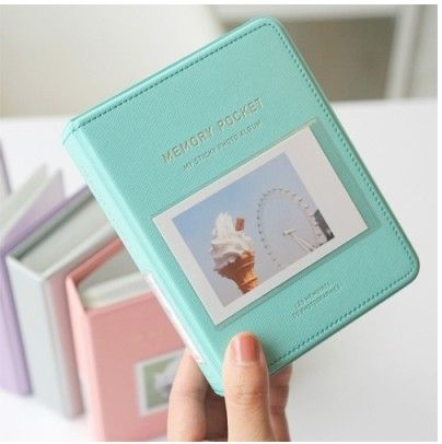 memory pocket instax mini album in mint, pink, silver & violet by ana