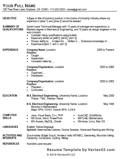 free resume template for word - Free Resume Formats