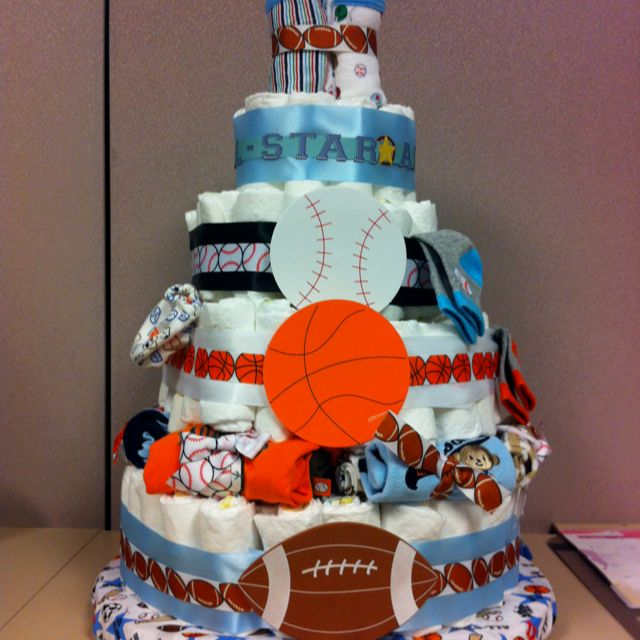 diaper cake for a sports theme baby boy shower boy baby shower ideas