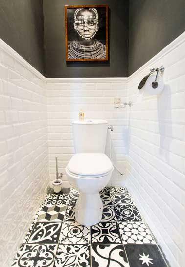 Déco WC noir et blanc carrelage sol motifs patchwork