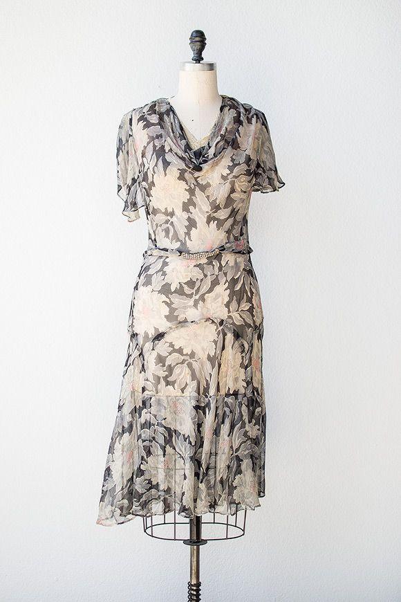 vintage 1920s grey floral sheer flapper dress | Parlor Wallpaper Dress | $288