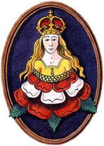 Catherine Parr's patron saint was Saint Catherine of Alexandria also known as Saint Catherine of the Wheel; Catherine Parr used her depiction as part of her royal emblem of a maiden with flowing blonde hair blooming from a Tudor Rose.