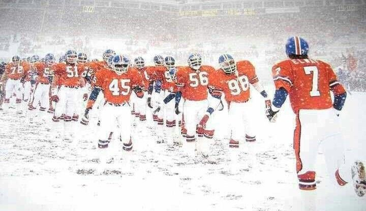 Denver vs. Green Bay during a Monday Night Football blizzard at the old Mile High Stadium in 1984. The announcers are as classic as the contest.