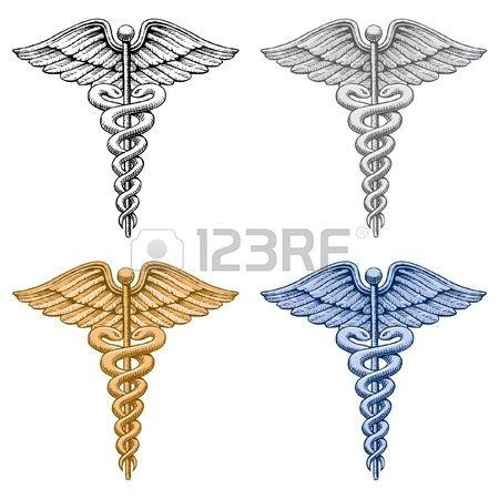 Caduceo Medical Symbol una illustrazione di quattro versioni del simbolo del Caduceo medico Esiste u Archivio Fotografico