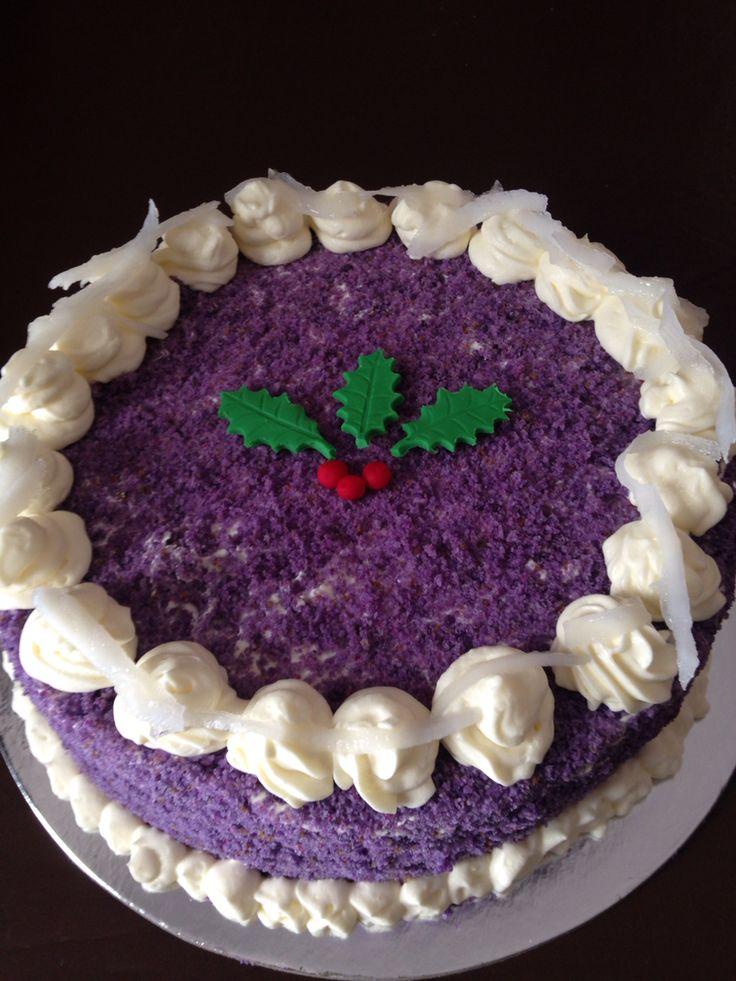 Ube cake christmas themed