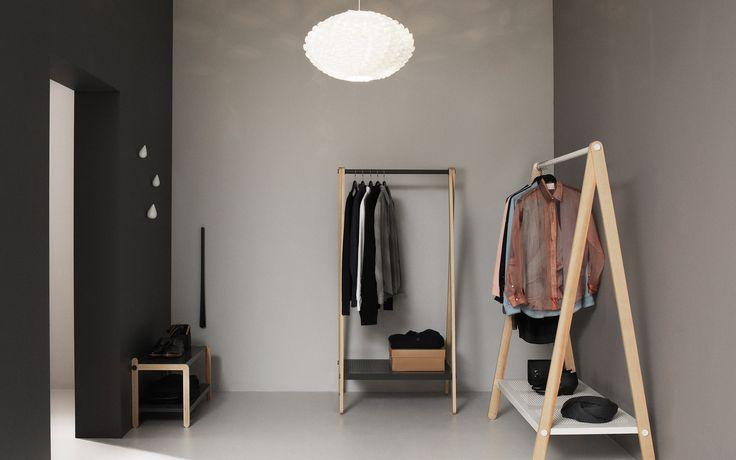 Toj Clothes Rack   Stylish wardrobe furniture in grey steel and ash   Small