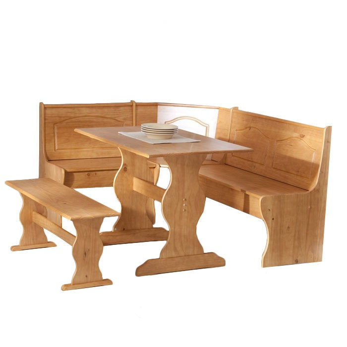 Evoke Country Chic Style With This Homespun Breakfast Nook Set, Crafted  From Pine Wood And Featuring A Honey Finish.
